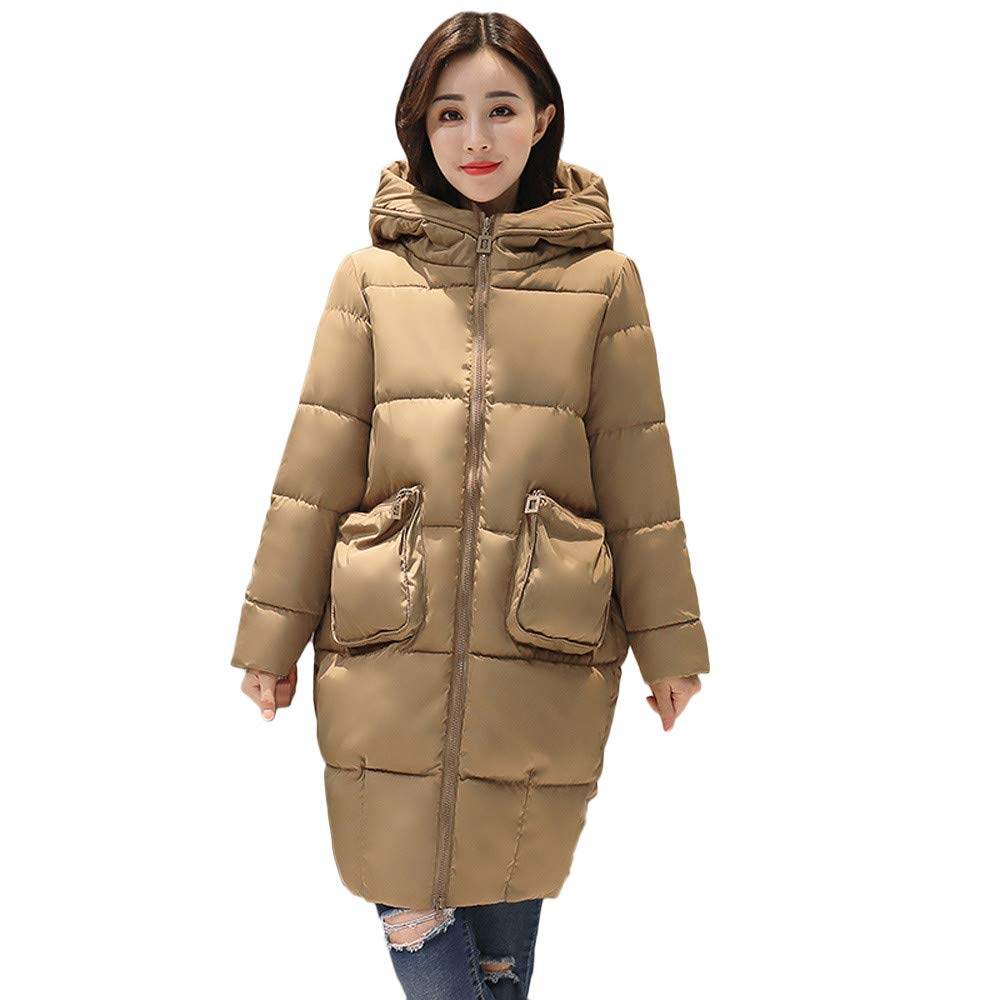 Seaintheson Clearance Women's Knee-Length Down Puffer Coat, Winter Warm Faux Fur Hooded Thick Slim Jacket Long Overcoat