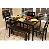 Home Life 5pc Dining Dinette Table Chairs & Bench Set Espresso Finish 150236