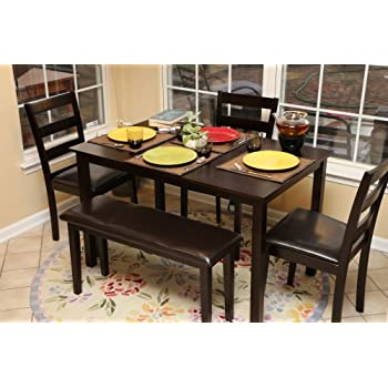 Amazoncom Coaster 5pc Dining Table Chairs Bench Set