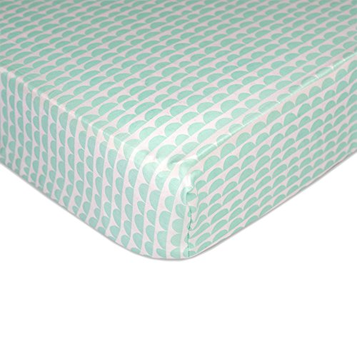 Lolli Living 100% Cotton Crib Fitted Sheet. Mint Scallop Pattern Ultra-Soft Fitted Crib Sheets (Standard Size)