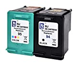 BJ Remanufactured Ink Cartridge Replacement for HP 94 & HP 95 C9354BN C8765WN C8766WN 2 Pack (1 Black 1 Tri-Color) For HP Officejet 150 100 H470 9800 7310 7210 Deskjet 460 PSC 1610 2355