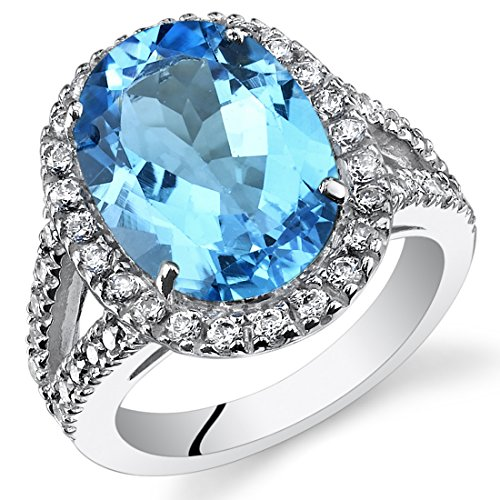 6.50 Carats Oval Cut Swiss Blue Topaz Engagement Ring In Sterling Silver Size 7
