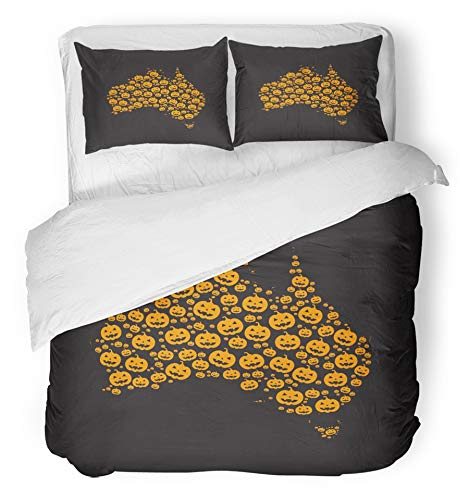 Emvency 3 Piece Duvet Cover Set Brushed Microfiber Fabric Breathable Map of Australia Filled with Halloween Pumpkin Heads Different Sizes on Black Bedding Set with 2 Pillow Covers King Size