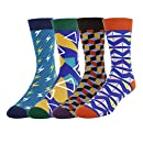 Novelty Cool Crazy Funny Dress Socks,Colorful Cotton Crew Socks, Gifts for Men (men shoes size 7-13, 4 Pack-a)