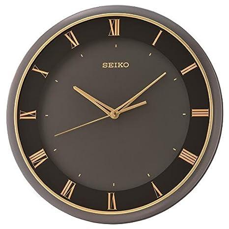 Seiko QXA683K - Reloj de pared redondo de cuarzo, esfera negra, manecillas de color dorado y números romanos con silencioso barrido de segundos: Amazon.es: ...