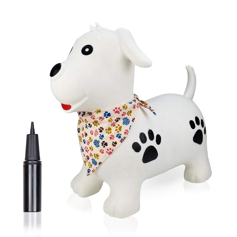 Inpany Jumping Horse Bouncy Hopper Inflatable- White Dog Ride on Rubber Bouncing Animal Toys for Kids/ Toddlers/ Children/ Boys/ Girls ( Pump Included)