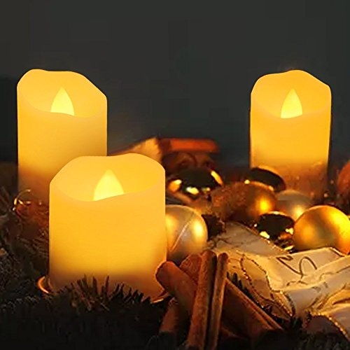 ELlight 6PCS/Pack LED Candle Light with Remote, Timer, Dimmable, Battery Operated Smokeless Flickering Electric Tea Light, Amber Yellow Flame