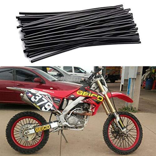 Black 72Pcs Universal Wheel Spoke Rim Skins Cover 19-21 Dirt Bike Rims Spoke Coat For Harley-Davidson Dyna FLHT