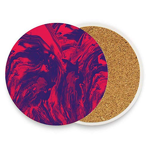 CuteToiletLidABC Red vs. Blue Coaster for Drinks,Wallpaper Ceramic Round Cork Table Cup Mat Coaster Pack Of 1 ()