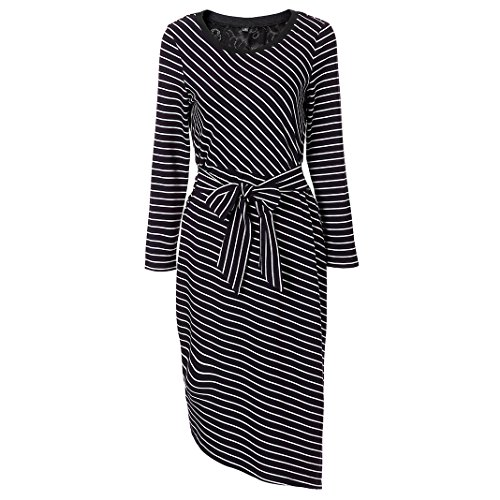 MINICAT Women Striped Long Sleeve Casual Bodycon Dress With Round (Striped Neck Wrap)