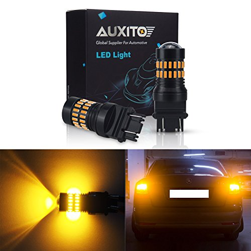 Auxito Amber Yellow 3157 Led Bulbs Extremely Bright 48 Smd 4014 Led Chipsets 3156 3057 4057 4157 Led Bulbs With Projector For Turn Signal Lights  Pack Of 2