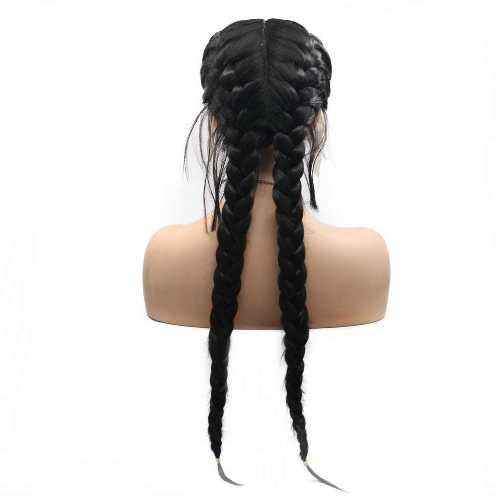 Drag Queen Black Double Braided Wig With Baby Hair Long Braids Hair Synthetic Lace Front Wig For Women Cosplay Party Full Mid Length Parting Amazon De Beauty