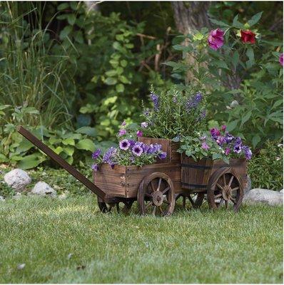 Charmant 2 Tiered Wooden Wagon Garden Planter