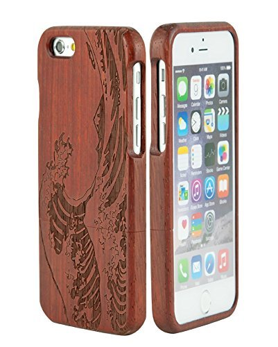 """SunSmart Unique Handmade Genuine Natural Wood Wooden Hard bamboo Case Cover for iPhone 6 4.7""""(sea weave rosewood)"""