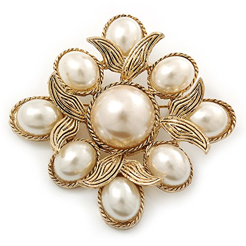 Vintage Inspired White Simulated Pearl Square Brooch In Gold Plating - 45mm Across (Brooch Vintage White Gold)
