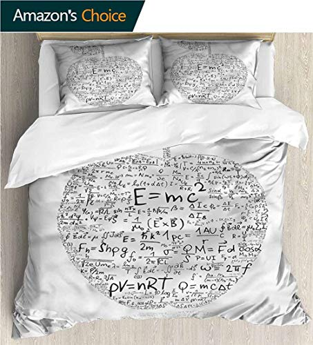 VROSELV-HOME 3 Pcs King Size Comforter Set,Box Stitched,Soft,Breathable,Hypoallergenic,Fade Resistant Decorative 3 Piece Bedding Set with 2 Pillow Sham-Educational Equations Learning (68