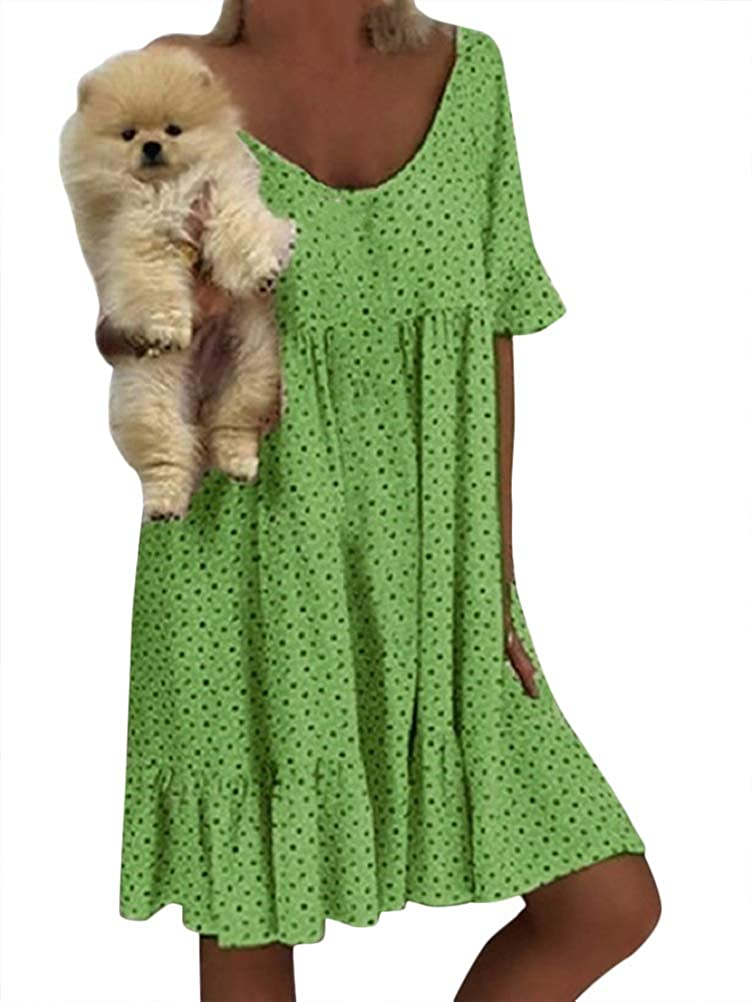 Romose Womens Sleeveless Loose Dresses Casual Short Boho V Neck A Line Summer Dress Beach Bikini Cover Up Sundress