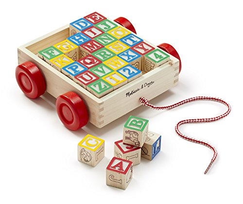 Melissa & Doug Classic ABC Wooden Block Cart Educational Toy With 30 Solid Wood (Wood Baby Blocks)