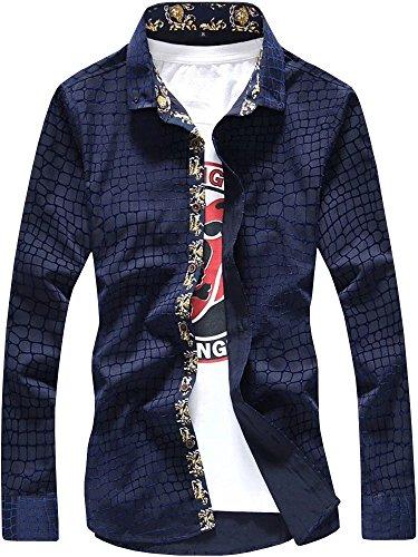 men-long-sleeves-crocodile-floral-pattern-slim-fit-casual-dress-shirt-navy-blue