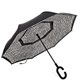 Barasol Reverse Folding Umbrella Travel Windproof Compact Umbrella Waterproof Double Canopy Vented Layer Inverted Close Golf Umbrella Lightweight for Man Women, Manually Open Leopard