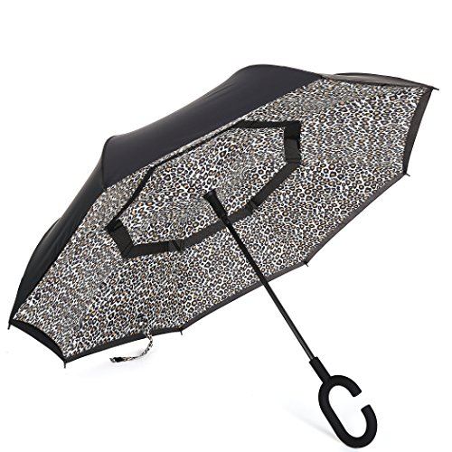 Barasol Reverse Folding Umbrella Travel Windproof Compact Umbrella Waterproof Double Canopy Vented Layer Inverted Close Golf Umbrella Lightweight for Man Women, Manually Open Leopard by Barasol