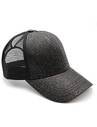 70bb10ea58e39 Womens Ponytail Messy High Buns Mesh Trucker Ponycaps Plain Baseball Cap  Dad Hat Adjustable Size
