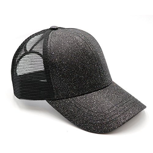 Lvaiz Womens Glitter Ponytail Plain Baseball Cap Messy High Buns Mesh Trucker Sparkly Ponycaps for Girls, Variy Styles and Colors