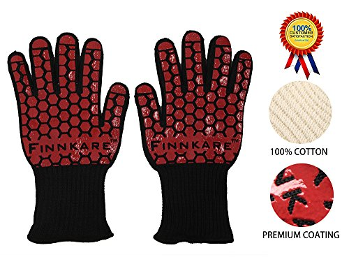 FINNKARE 2PK 1 Pair Extreme Versatile Heat Resistant Gloves with Extra Long Cuff Forearm Protection Proof for BBQ