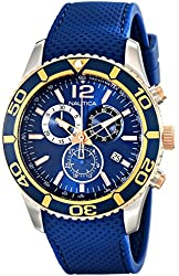 Nautica Men's NAD16502G NST 09 Stainless Steel Watch with Blue Band