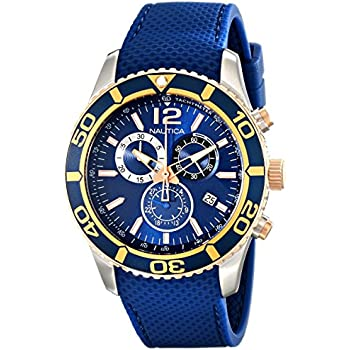 Nautica Mens NAD16502G NST 09 Stainless Steel Watch with Blue Band