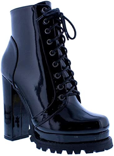 Monclair-1A Women Ankle High Lace Up Platform Lug Sole Chunky High Heel Combat