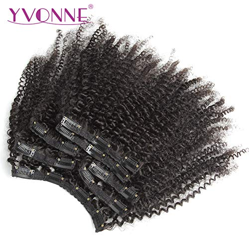 YVONNE 4A 4B Brazilian Kinky Curly Clip In Human Hair Extensions 100% Virgin Hair Natural Black Color 7 Pieces/Set 120 Gram (18 Inch)