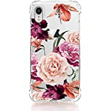 LUOLNH Compatible with iPhone XR Case,iPhone XR Case with Flowers, Slim Shockproof Clear Floral Pattern Soft Flexible TPU Back Cover case for iPhone XR 6.1 inch (2018) -Purple Rose