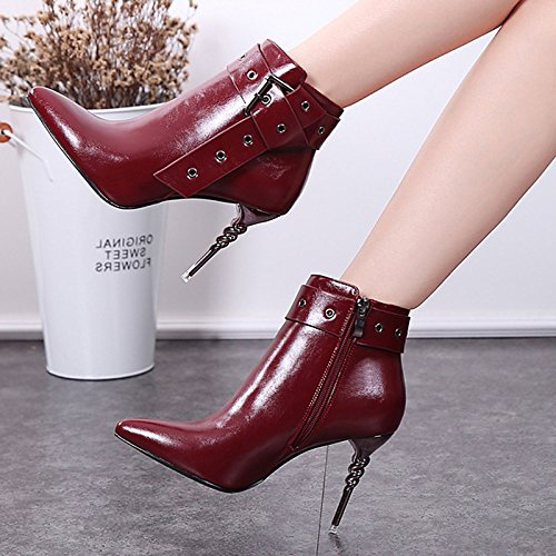 Hollow Wedding Heel Novelty Bootie Black Fall Stiletto HSXZ Leatherette Women's ZHZNVX Comfort Black out Casual Shoes Spring Boots for Wine 7Rpxq