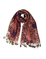 Womens Cashmere Pashmina Large Shawl Wrap Scarf Stole Jacquard Pashmina Scarves - Purple, 1.1 x 1.1CM