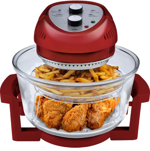 Big Boss 9063 1300-watt Oil-Less Fryer, 16-Quart, Red