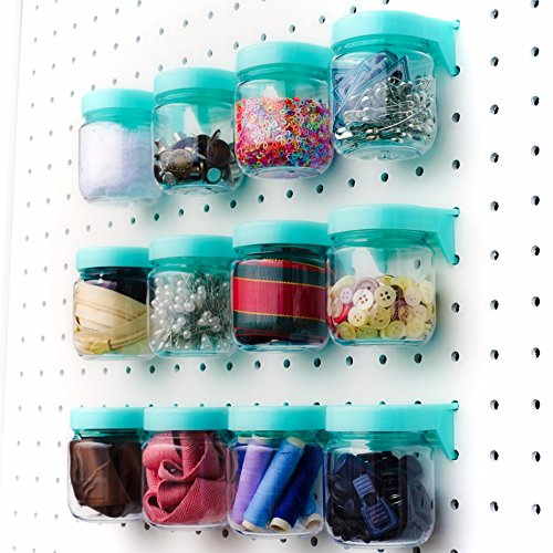 Pegboard Accessories Organizer Storage Jars - Crush & Impact Resistant Plastic Caddy Craft Jars - One-Handed Locking System - Garage Workbench, Crafting, Tools, Jewelry, Sewing - Set of 12 (Blue) by WORLD AXIOM (Image #6)