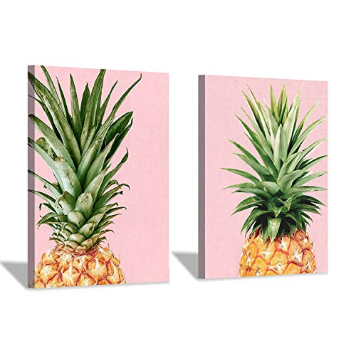 Pineapple Top Canvas Wall Art: Fruit Photographic Print Picture for Dining Rooms Decoration (16'' x 12'' x 2 Panels)