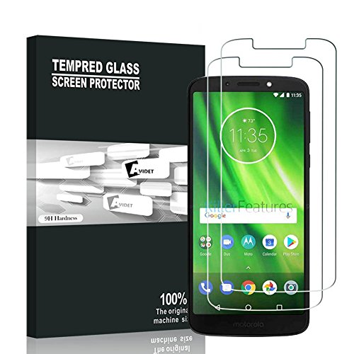 Moto G6 Play Screen Protector, AVIDET 9H Hardness Premium Tempered Glass Screen Protector for Moto G6 Play (2-Pack)