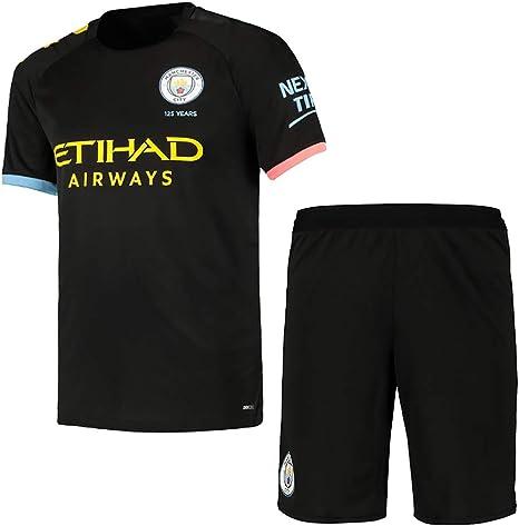 Camiseta de fútbol personalizada para niños/adultos/hombres (2019-2020 Home & Away), camisetas y pantalones cortos personalizados y trajes de calcetines con cualquier nombre y número, Hombre, Manchester City Away., 12-13 years old/Height: 155-165