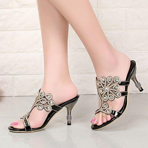 Tacón Diamantes Zapatos Redondas Imitación Verano Mujeres Alto Us55eu36uk35cn35 Cadena Para Highxe Purple Mujer black Grado Sandalias De wAqE0wpF