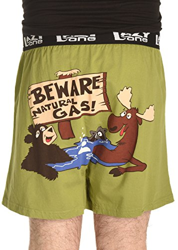 Lazy One Mens Funny Animal Boxers (XX-Large, Beware Of Natural Gas Comical Boxers)
