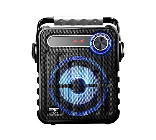 Zebronics Buddy Wireless Portable BT Speaker with USB Pen Drive Slot, 3.5mm AUX Input, Micro SD Card Slot, built in FM, Carry Handle, LED Lights, built in Rechargeable Battery