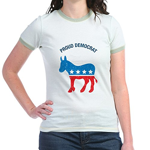 (CafePress Proud Democrat - Jr. Ringer T-Shirt, Slim Fit 100% Cotton Ringed Shirt)
