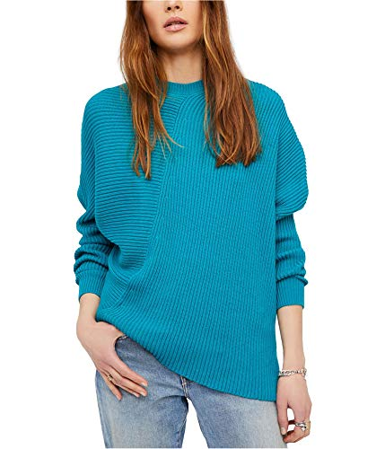Free People Womens Downtown Ribbed Knit Asymmetrical Pullover Sweater Green M