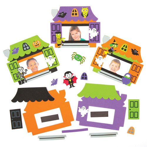 Haunted House Photo Frame Magnet Kits Creative Set for Children to Make Decorate and Display as Halloween Crafts (Pack of 5) -