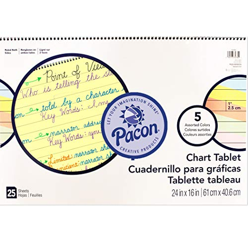 Pacon PAC74732BN Chart Tablet, Cursive Cover, Assorted 5 Colors Inside, 1