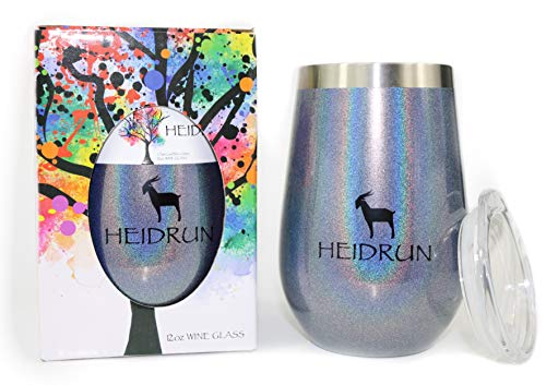 HEIDRUN Wine Tumbler, 12 oz Triple Insulated Stainless Steel Stemless Unbreakable Wine Glass w Lid, Vacuum Sealed Travel Cup Hot Cold Non Slip Rubber Bottom, Champagne (Glitter Charcoal - Bottom Rubber