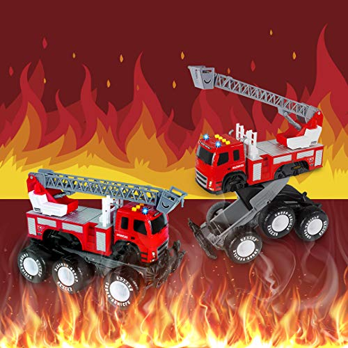 Friction Powered Monster Fire Engine Truck with Lights and Sounds, Transform Firetruck Vehicle Toy, for Boys and Girls Ages 3+