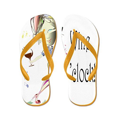 Cafepress Vin Oclock! - Flip Flops, Roliga Rem Sandaler, Strand Sandaler Apelsin
